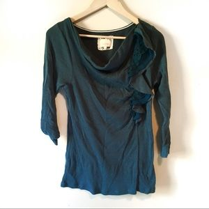 Anthro • Deletta lace ruffle neck thermal top
